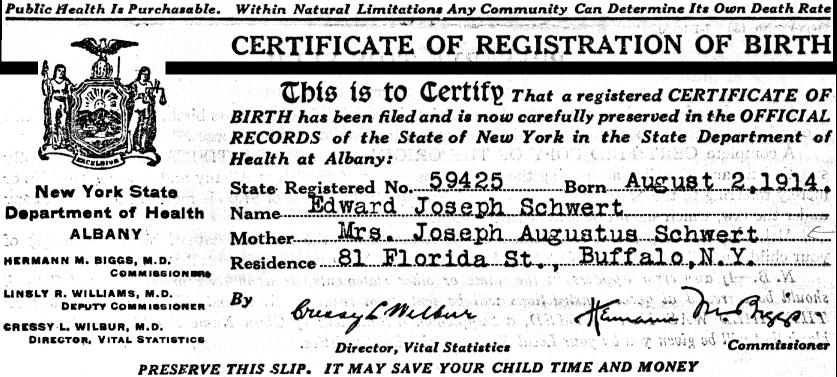edward ehrler schwert birth certificate 1914 york 52k enlarge born 1999 certificates