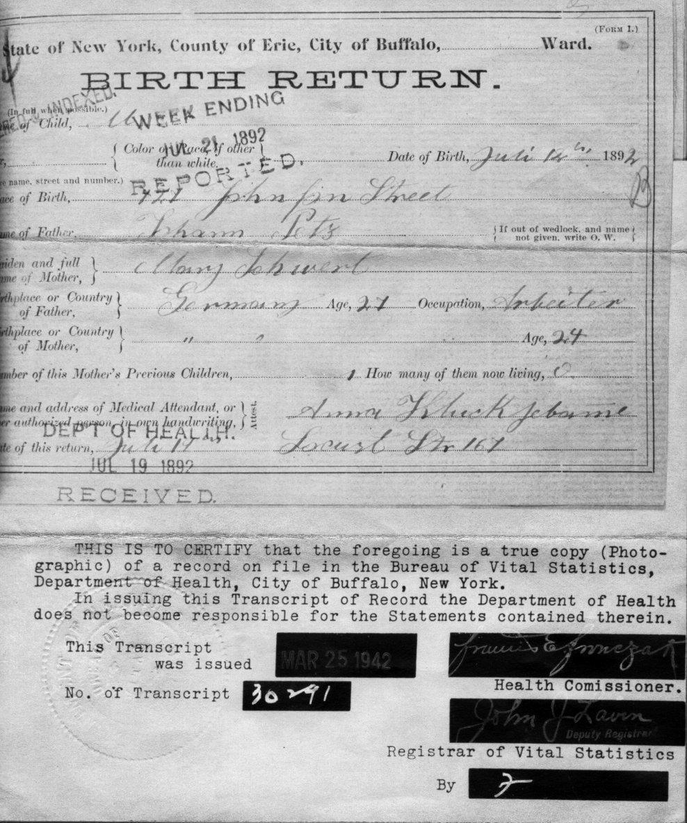 Family and Descendants of John Patz (1891? - 1891?)