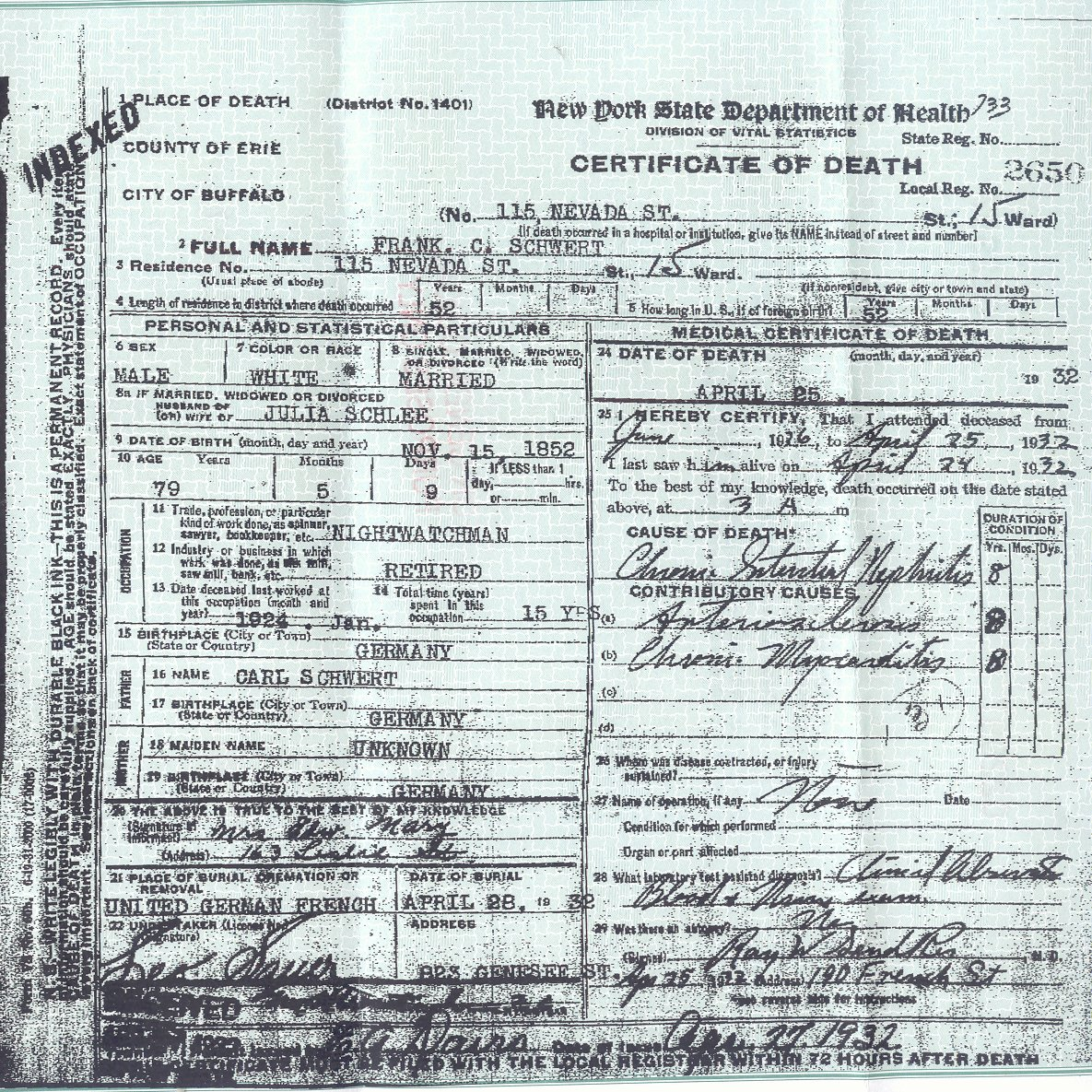 Family and descendants of franz carl schwertfeger schwert 1852 death certificate aiddatafo Image collections