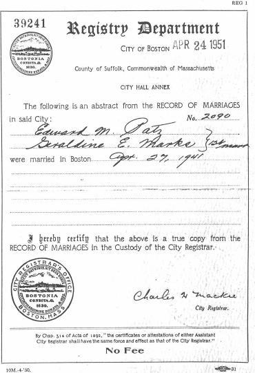 Family and Descendants of Edward Martin Patz, Sr.